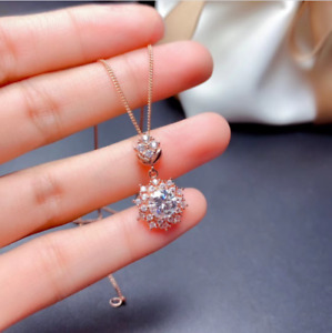 8mm Round Cut Moissanite Snowflake Pendant Solid 14K Rose Gold Finish Free Chain