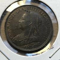 1901 Great Britain 1/2 Half Penny Coin UNC Condition