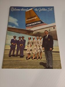 VINTAGE 1960'S CONTINENTAL AIRLINES WELCOME ABOARD Flight packet The Golden Jet