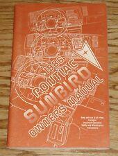 Original 1986 Pontiac Sunbird Owners Operators Manual 86
