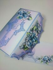 Handmade 3D purple/blue Birthday Gift card/money/Envelope/Pocket voucher