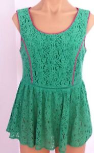 PINK STITCH Size 8 Womens Green Peplum Lace Top Half Lined Back Zip BNWT
