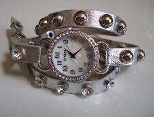 Silver Wrap Around Bling Sparkly Rhinestones Fashion Women's/Girl's Watch
