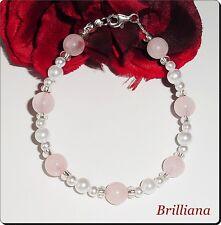 Zauberhaftes Rosenquarz Perlen Armband 19,5cm mit 925 silber Karabiner Organzasä
