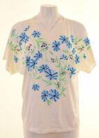 ROMANTICA Womens T-Shirt Top Size 12 Medium Off White Cotton Vintage IT08