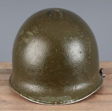 Vtg WWII US Army M-1 Front Seam Fixed Bale Helmet Shell & Liner #1219 WW2