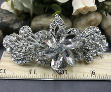 Silver tone with clear rhinestone crystal hair barrettes metal hair clip ha3100s