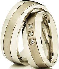 2 Fedi Nuziali Anelli Partner Anello di fidanzamento in acciaio inox & Titanio