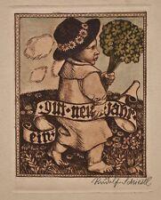 Rudolf Schiestl - Neujahrskarte - colorierte Radierung