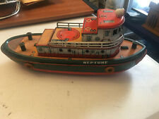 1960s Mt Masudaya Japan Tin Battery Op Multi-Action Neptune Tug Boat 15 Inch