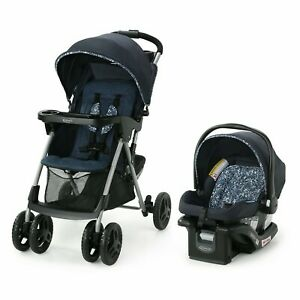 Graco Comfy Cruiser 2.0 Travel System with Infant Car Seat Child Cup Holder Blue