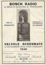 Y1146 BOSCH Radio Mod. 49 Consolette - Pubblicità 1930 - Advertising