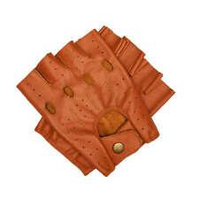 100% Genuine Leather Driving Fingerless Gloves Guanlet Unisex Unlined