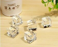 50pcs Acrylic Ice Cubes Square Shape, Glass Luster Ice Cubes Fake Artificial