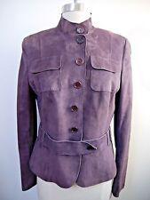 AKRIS Punto plum purple suede leather button front jacket size 8