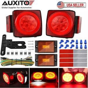 "2X LED Submersible SQ Red Trailer Lights Kit Under 80"" Stop License Tail Brake"