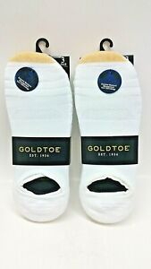 2 Pk of 3 Pairs Gold Toe The Sneaker Mens 10 1/2-13 No Show Socks White Sta-Cool