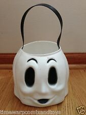 Vintage Halloween Empire Blow Mold White Ghost Bucket Pail with Strap Nice!