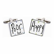 Poor But Happy Cufflinks by Sonia Spencer, Hand painted, RRP £20!
