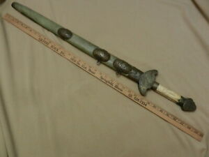ANTIQUE 中国双剑 CHINESE DOUBLE SWORD SILVER INLAY 乾隆  WWII JAPANESE USMC