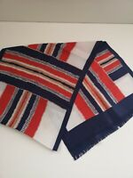 St Michael Blue and Red Rayon Scarf - 31 cm x 130 cm (867)