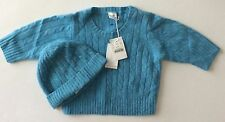JCrew CREWCUTS Baby Boy Wool Cashmere Blue Sweater Hat Set NEW 6-12 NWT