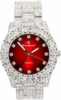 Men Fully Iced Watch Bling Rapper Lab Simulate Diamond Silver Band Luxury RED