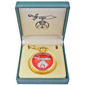 Freimaurer Freemason - Runde Shrinerstaschenuhr, goldfarben in Geschenkbox