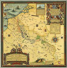 1926 pictorial Map Battle Lines France Belgium September 1918 WW1 POSTER 8669