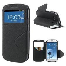 Schutz Tasche Hülle Flip Cover f Samsung Galaxy S3 i9300 NEO SCHWARZ VIEW 230A