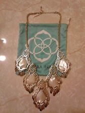 Kendra Scott Valora White Mother of Pearl Vintage Statement Necklace Rare HTF