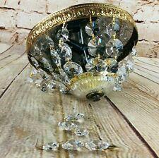 "Vintage Crystal Embossed Brass 8"" Flush Mount Ceiling Light Chandelier Italy"
