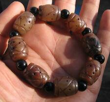 old antique  jade   hand carved beads bracelet sz adjustable