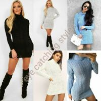 WOMENS LADIES CHUNKY CABLE KNITTED HIGH POLO ROLL NECK MINI DRESS STRETCH JUMPER