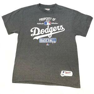 LA Dodgers T Shirt Sz L Majestic Authentic Collection Gray 2013 Polyester/Cotton