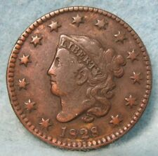 SCARCE 1828 Small Wide Date Coronet Head Large Cent VF-  * US Coin #1996