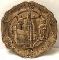 Rare Germany carved Resin 3D Wall Plate Vintage Hand Painted Brussel