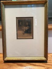 Antique Dutch Woman Ink Drawing Spinning Wheel Signed Dated 1897