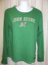 JOHN DEERE Green  COTTON Blouse Top Shirt Women's Junior Size LARGE  11-13