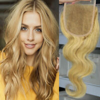 Indian Human Hair Lace Topper 4x4 Frontals Front Closure Bouclé Blonde Hairpiece