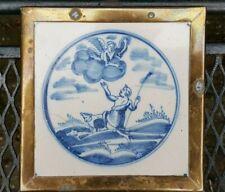 Antique 18th C. Dutch Delft Blue White Bible Biblical Religious Scene Tile