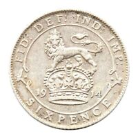 KM# 815 - Sixpence - George V - Great Britain 1914 (VF)