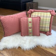 Decorative Throw Pillow 14in x 14in Square Pink Plaid Button Front EUC!!