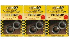 "3pr 1965 K&B Aurora 1:24 Slot Car Pit Stop Parts 1 1/8"" German Slick Tires #406"