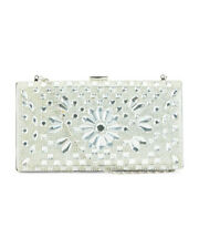 New w/ Tags Natasha Couture Clear White Crystal Embellished Evening Clutch