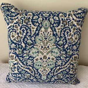 """Ralph Lauren 18 """" sq. Navy/White/Green Paisley Indoor/Outdoor  pillow  NWT"""
