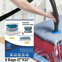 8 PACK Jumbo Extra Large Space Saver Vacuum Seal Storage Bag Strong Organizer XL