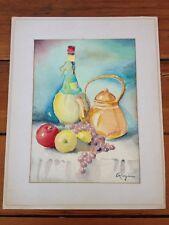Original Vintage Mid Century Still Life Bottle Kettle Fruit Watercolor Painting