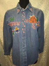 Westbound Casual Womens M Medium Long Sleeve Denim Christmas Shirt Top Holiday