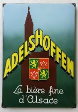 Plaque émaillée publicitaire ADELSHOFFEN Bière d'Alsace Strasbourg Schiltigheim